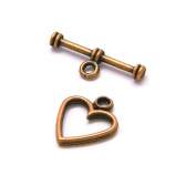 10 Antique Copper Heart Toggle Bar & Ring Jewellery Clasps Plated Over Pewter Base Metal