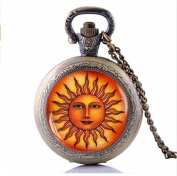 Fashion Sun Pocket Watch With Necklace, Vintage Boho Astrology Jewellery