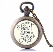 Tune My Heart To Sing Thy Grace Pocket Watch Necklace, Hymn Pendant Hymn Jewellery ,Inspirational Gift Christian Pendant Gift