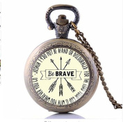 Be Brave Pocket Watch Necklace , Keep Going Arrow Gift, Jewellery