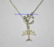 Silver Anchor Necklace ,Sea Necklace,Traveller pilot aeroplane aviation charm necklace - wanderlust travel jewellery