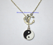Anchor Charm Necklace, Nautical Necklace, Yin Yang Necklace, Black and White Necklace, Silver Yin Yang Necklace, Boho Necklace