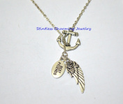 Best Friend Gift, Anchor Angel Wing Necklace, Fairy Necklace, Refuse To Sink, Sister Necklace, Mother, In Memory NecklaceBest Friend Gift