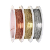 Pengxiaomei Beading Wire 0.3 mm, 3 Pieces Bare Copper Wire Roll Jewellery Beading Wire Rolls Tarnish Resistant Copper Wire