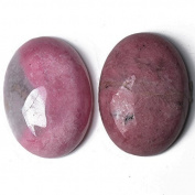 1 x Pink Rhodonite 18 x 25mm Oval-Shaped Flat-Backed Cabochon - (CA16662-6) - Charming Beads