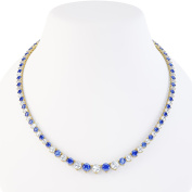 Eternity Blue and White Sapphire Silver Tennis Necklace