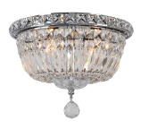 Worldwide Lighting Empire Collection 4 Light Chrome Finish and Clear Crystal Flush Mount Ceiling Light 25cm D x 20cm H Round Small