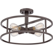 Quoizel NHR1718WT New Harbour with Western Bronze Finish and Extra Large Semi Flush Mount, Brown