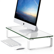 Fitueyes Tempered Glass Computer Monitor Riser Multi Media Desktop Stand DT106004GW