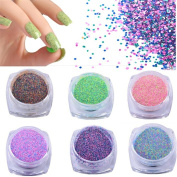 Mezerdoo 12 Bottles Colourful Nail Sugar Glitter Powder Nail Art Dust Tips Decoration Beauty Manicure Polish Craft Nail Sequins