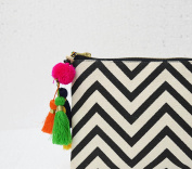 Black and white, geometric pattern, chevron print, make up or cosmetic bag, utility pouch, 13cm X 23cm