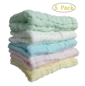 """5 Pack Baby Washcloths and Towels ,Winmany Natural Organic Cotton Baby Wipes Extra Soft & Absorbent Towels For baby bath,face and hands 10""""x10"""" Reusable Wipes"""