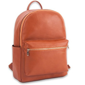 Kaydee Baby Brown Faux Leather Unisex Nappy Tote Backpack Bag and Changing Pad w/ Gold Metal Zippers - For Men and Women