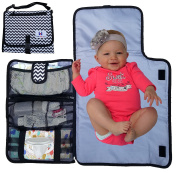 Nappy changing Pad - Luxury Clutch Portable Travel Mat for Baby - Easy Access Wipes! Washable! Black and White Chevron