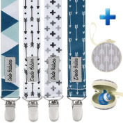 Pacifier Clip by Dodo Babies Pack of 4 Premium Quality Modern Designs Universal Holder Leash for Pacifiers, Teething Toy or Soothie