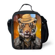 JBS NO.1 Boys Girls Lunch Bag /Lunch Box for School Travel Outdoor, Tiger Insulated Picnic Lunch Box Bag Tote with Adjustable Strap