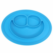 Carly Shop Silicone Placemat,One Piece Mini Placemat and Plate (Blue), One Size