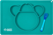 Baby Silicone Placemat + Spoon By Happy Monkey - One Piece Kids Food Mat With 4 Separate Compartments - Funny Animal Design - Safe, Hygienic & Washable - Non Slip, Secure Suction - Blue Colour