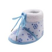 KaiCran Christmas Shoes Toddler Newborn Baby Snow Print Soft Sole Boots Prewalker Warm Shoes