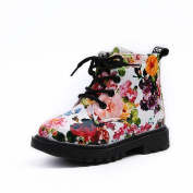 KuoShun Girls Fashion Floral Kids Shoes Baby Martin Boots Casual Children Boots