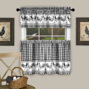 Barnyard Kitchen Curtain Tier and Valence Set, Black, 58x 14 and 150cm x 90cm