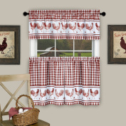 Barnyard Kitchen Curtain Tier and Valence Set, Burgundy, 58x 14 and 150cm x 90cm