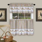 Barnyard Kitchen Curtain Tier and Valence Set, Taupe, 58x 14 and 150cm x 90cm