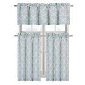 Shabby Trellis Complete Kitchen Curtain Tier & Valance Set - Restoration Green