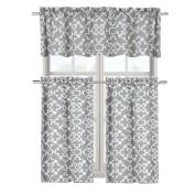 Complete 3 Pc. Shabby Lattice Tier & Valance Kitchen Curtain Set - Grey