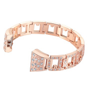For Fitbit Charge 2, bayite Replacement Metal Straps with Rhinestone, Silver Rose Gold¡