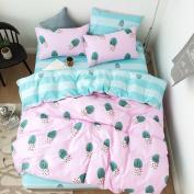 ORoa Simple Cactus Bedding Children's Duvet Cover Set Full Cotton Girl Reversible Bedding Set 3PC