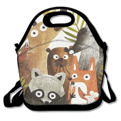 Reusable Picnic Lunch Bags Lunch Tote Lovely Animals Lunch Box For Men Women Adults Kids Toddler Nurses