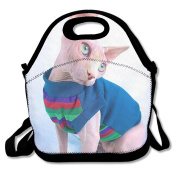 Reusable Picnic Lunch Bags Lunch Tote Hairless Cat Lunch Box For Men Women Adults Kids Toddler Nurses