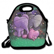 Reusable Picnic Lunch Bags Lunch Tote Elephant Family Lunch Box For Men Women Adults Kids Toddler Nurses