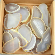 30 pieces Agate Slices Stone Slab 5.1cm - 7.6cm in length for Wedding Name Cards Namecards Place Cards - White / Grey