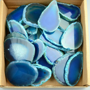 30 pieces Agate Slices Stone Slab 5.1cm - 7.6cm in length for Wedding Name Cards Namecards Place Cards - Blue