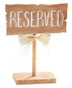 BNB Table Top Décor Reserved Sign Wooden Guest Seating Marker Plaque on Stand at 25cm Tall x 20cm L x 7.6cm D Natural Woodgrain Brown, Chalk White Wording Burlap and Raffia Bow on Post, 1 per order