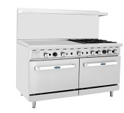 Atosa ATO-36G4B 150cm Gas Range. (4) Open Burners and 90cm Griddle on the LEFT with Two 70cm 1/2 Wide Ovens