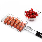 MiniInTheBox Hot Dog Rack Metal Mesh Baskets BBQ Barbecue Sausage Grilling Basket Grill Rack BBQ Accessories Christmas Party BBQ Tool