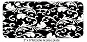Black & White Abstract Floral Art Mini 7.6cm x 15cm Aluminium Licence Plate