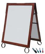 Cohas EZ Change 60cm by 90cm Sidewalk A-Frame Sign includes 60cm by 70cm Marker Board Set, Cherry Frame, White Boards
