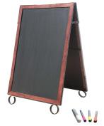 Cohas EZ Change 70cm by 100cm Sidewalk A-Frame Sign includes 60cm by 90cm Marker Board Set, Cherry Frame, Black Boards