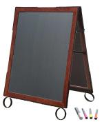 Cohas EZ Change 60cm by 90cm Sidewalk A-Frame Sign includes 60cm by 70cm Marker Board Set, Cherry Frame, Black Boards