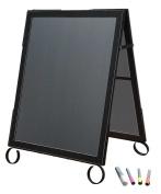 Cohas EZ Change 60cm by 90cm Sidewalk A-Frame Sign includes 60cm by 70cm Marker Board Set, Black Frame, Black Boards