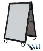 Cohas EZ Change 70cm by 100cm Sidewalk A-Frame Sign includes 60cm by 90cm Marker Board Set, Black Frame, White Boards