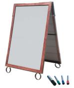 Cohas EZ Change 70cm by 100cm Sidewalk A-Frame Sign includes 60cm by 90cm Marker Board Set, Cherry Frame, White Boards