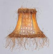 Livex Lighting S109 Bell Clip Chandelier Shade with Corn Silk Fringe, Gold Panel Silk
