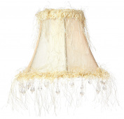 Livex Lighting S106 Bell Clip Chandelier Shade with Corn Silk Fringe and Beads, Off White Silk