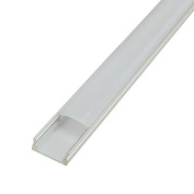 LEDwholesalers Aluminium Channel System with Cover, End Caps, and Mounting Clips, for LED Strip Installations, U-Shape, Pack of 5x 1m Segments, 1902-U