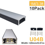 LightingWill 10-Pack U-Shape LED Aluminium Channel 3.28ft/1M Anodized Black Track for _20mm width SMD2835 3528 5050 LED Strips with Oyster White Cover, End Caps and Mounting Clips U04B10